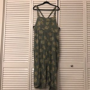 Green floral jumpsuit overalls